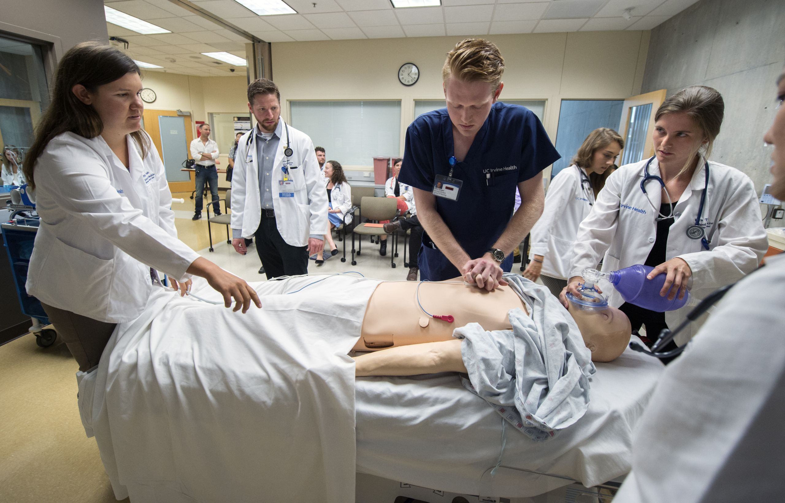 nursing students in simulation with a high-fidelity manikin