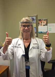 nurse susan tiso tests 3d printed face shield