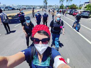 danisha jenkins and her fellow nurses at a black lives matter protest