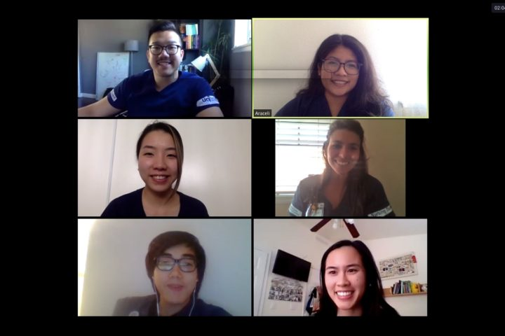 A Zoom screenshot shows some of the graduating nursing students who participated in the UCI Health Virtual Visitor Project. Sue & Bill Gross School of Nursing