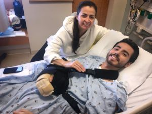 Cristian Lopez, who had a Zoom conversation with his virtual nurses, with his mother, Sandra at UCI Medical Center