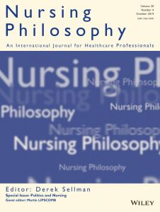 cover of nursing philosophy journal uci phd student published in august 2020