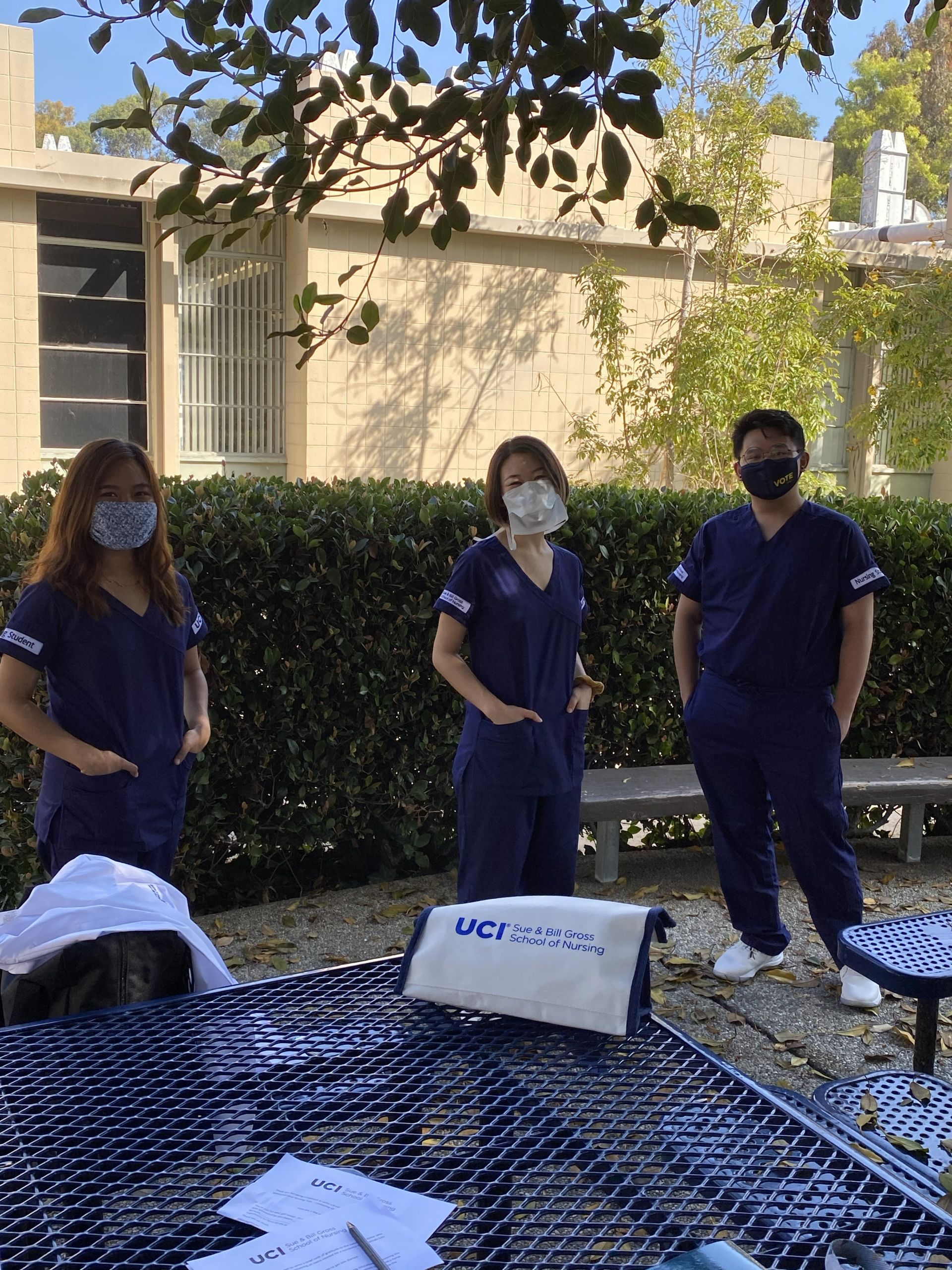 UCI School of Nursing pick up their skills totes, which were donated by the community on Giving Day.