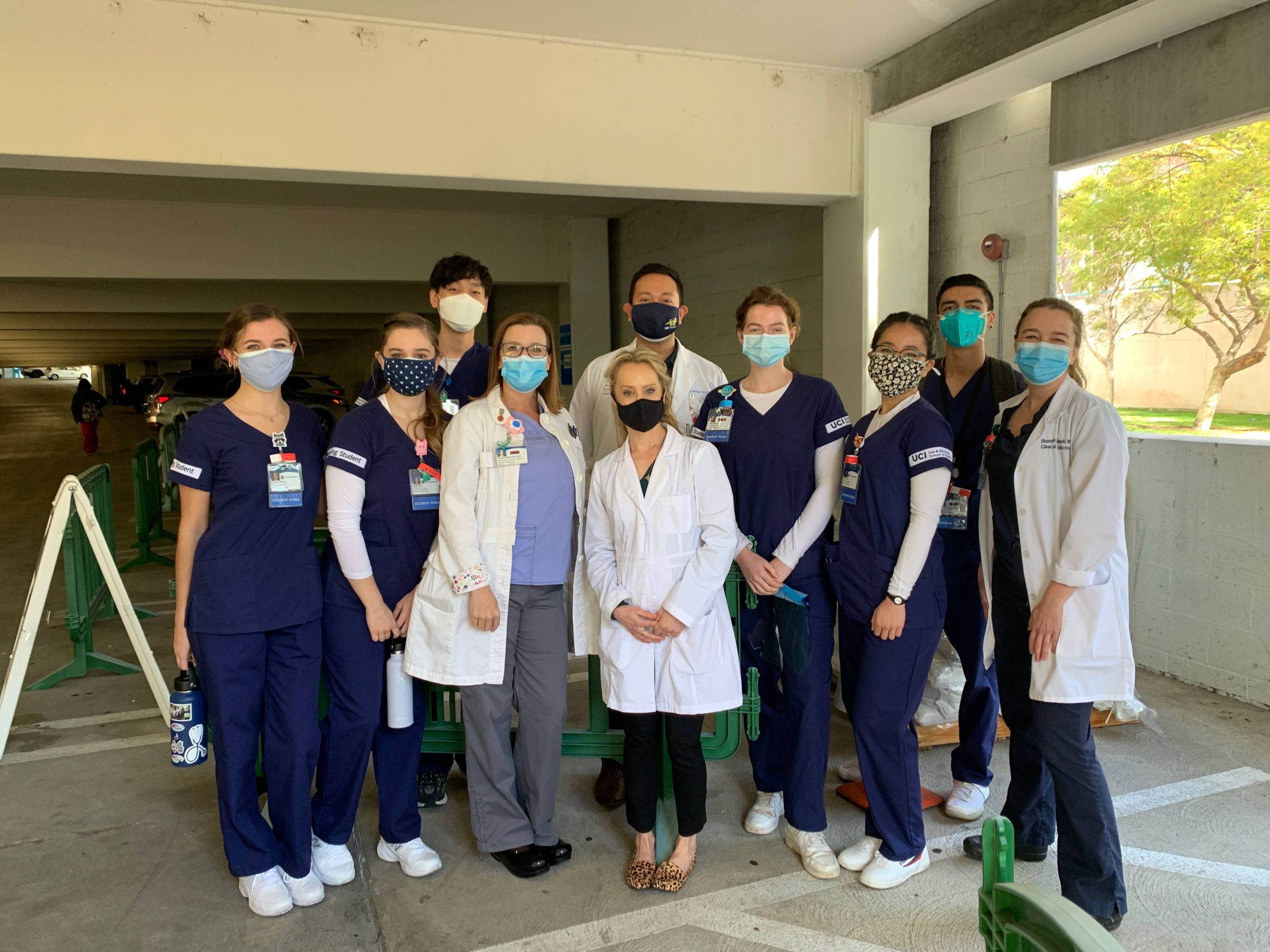 UCI School of Nursing faculty (in white coats from left), Leanne Burke, Stephanie Au and Elizabeth Symanski with nursing students at son, we strive to give our students clinical experiences that are impactful