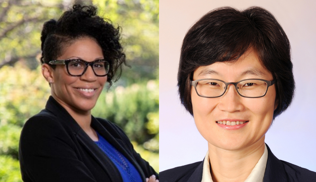 assistant professor dawn bounds, left, and jung-ah lee, right. bounds is the uc irvine school of nursing equity advisor; associate professor concluded her term.
