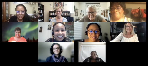 screenshot of virtual zoom meeting panelists decolonizing nursing: what? why? how?